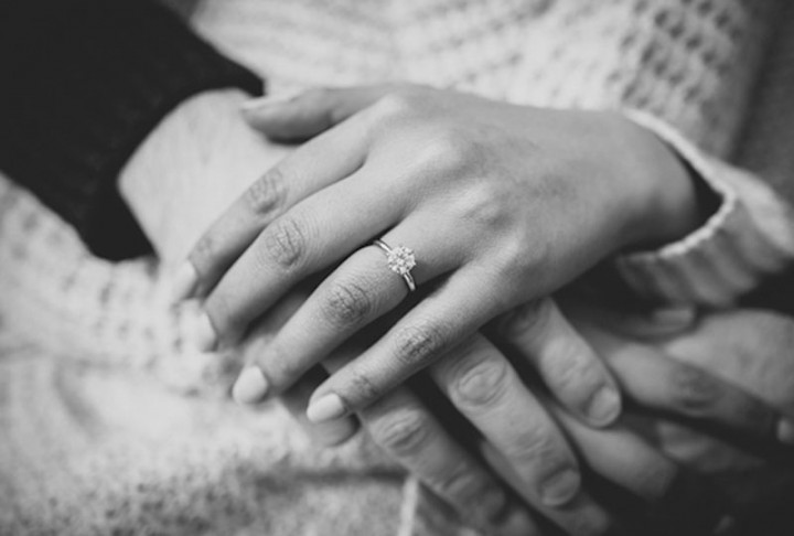 Close up photograph of engagement rings