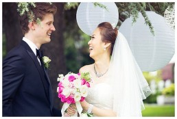 An outdoor wedding blessing at the Manor Parc Hotel, in Cardiff, South Wales