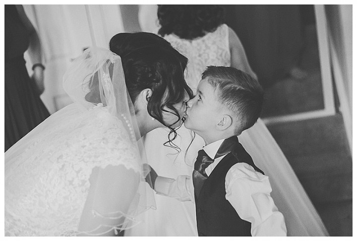 Bride greeting her son