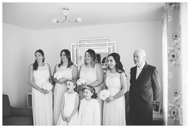 Wedding Photographer Cardiff - Bridesmaids reaction to seeing the bride for the first time