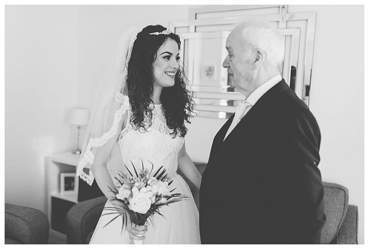 Wedding Photographer Cardiff - Bride and father getting emotional