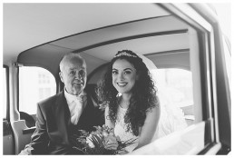 Wedding Photographer Cardiff - Bride and father in the wedding car