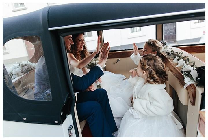 Wedding Photographer Cardiff - Couple In Wedding Cars