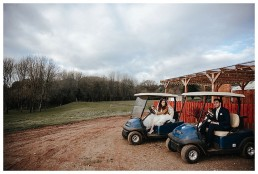 Wedding Photographer Cardiff - Couple on golf buggy
