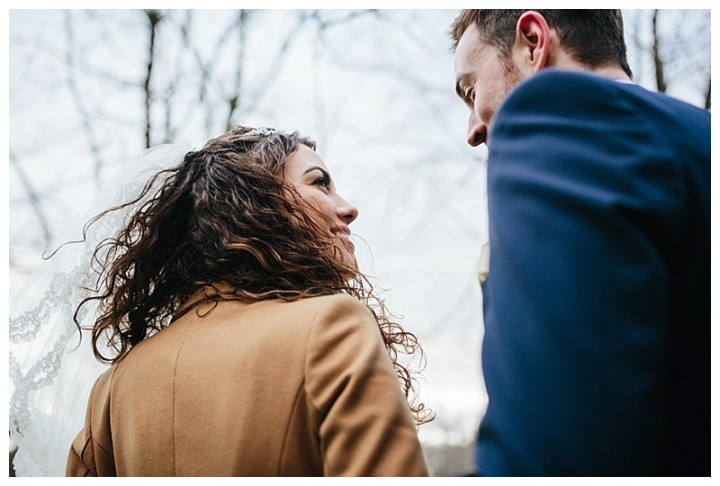 close up of bride looking smitten with new groom at Cardiff wedding