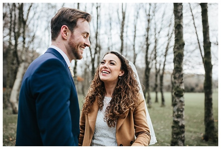 Newly married couple share a laugh at Cardiff Wedding
