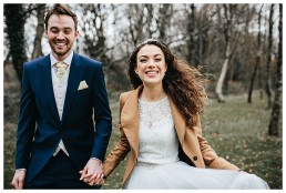 Wedding Photography Caerphilly - Bride & Groom Take Romantic Stroll in Woods