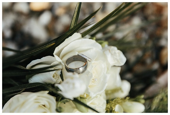 Caerphilly Wedding Photography - Close Up Of Wedding Rings On Flowers