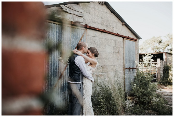 Bride & Groom at Almonry Barn