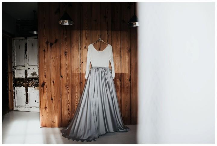 alternative wedding dress at fforest wedding venue