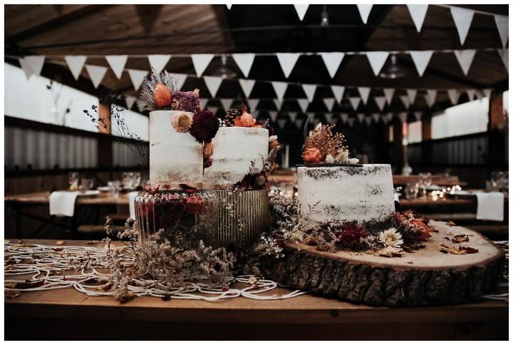 naked wedding cake at fforest