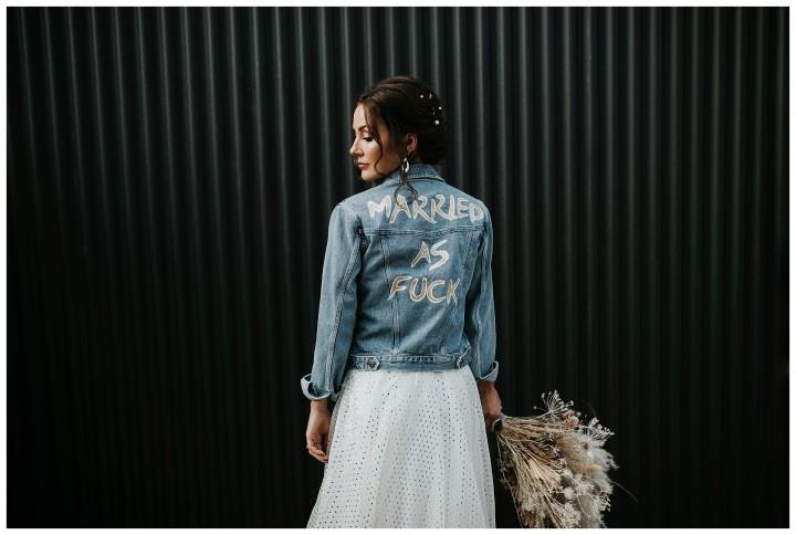 Bride wears denim at shack revolution